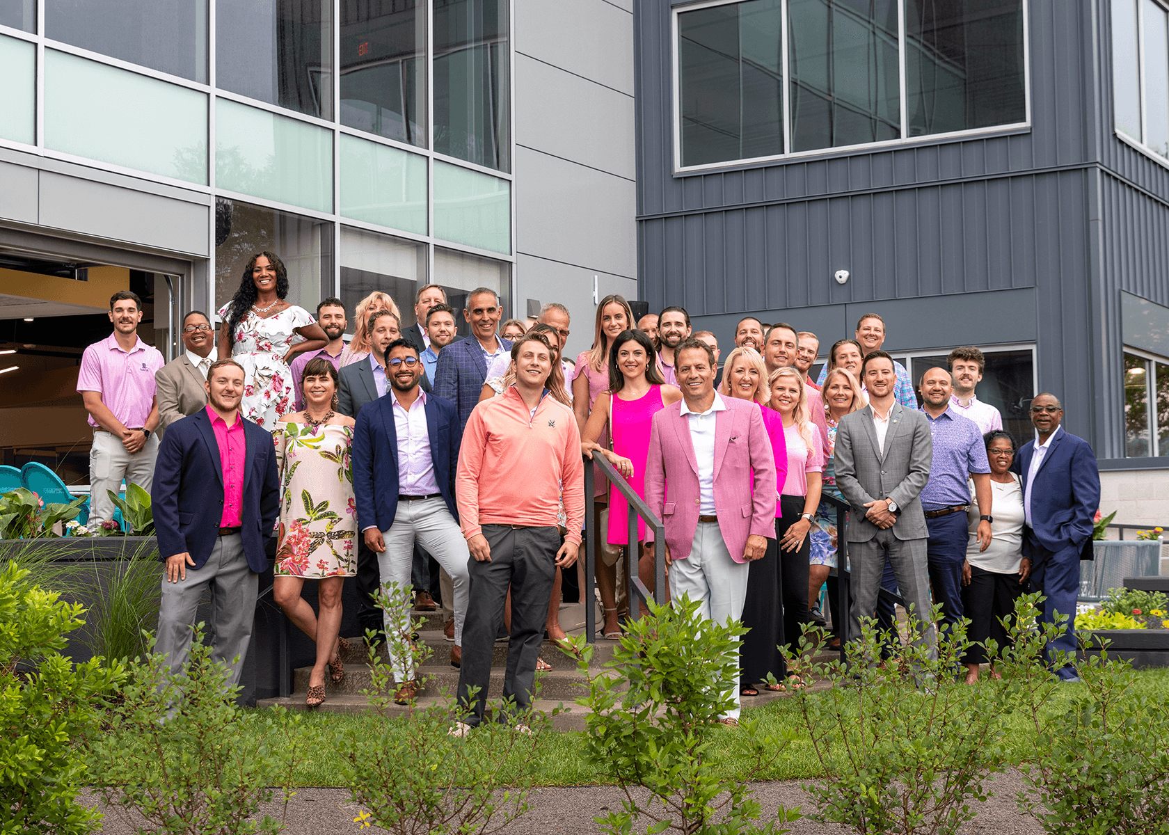 BSRE group photo on patio
